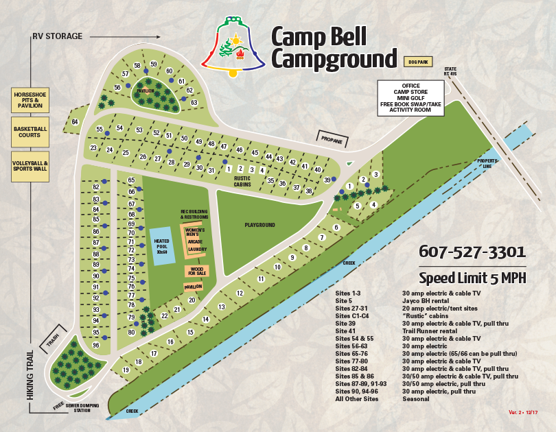 campground map for camp bell campground in ny
